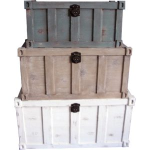 Shipping Container style Trunks (set of 3)