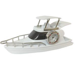 Desktop Flybridge Motor Cruiser with Clock - white
