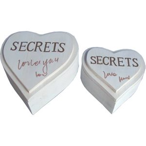 Trinket Box Heart Shape Secrets (set of 2)