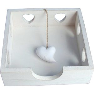 Napkin Holder Heart design -white wooden 20cmx20cm