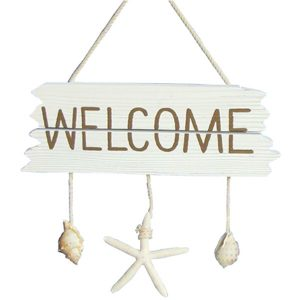 Welcome sign wooden with Hanging shells 37.5cm