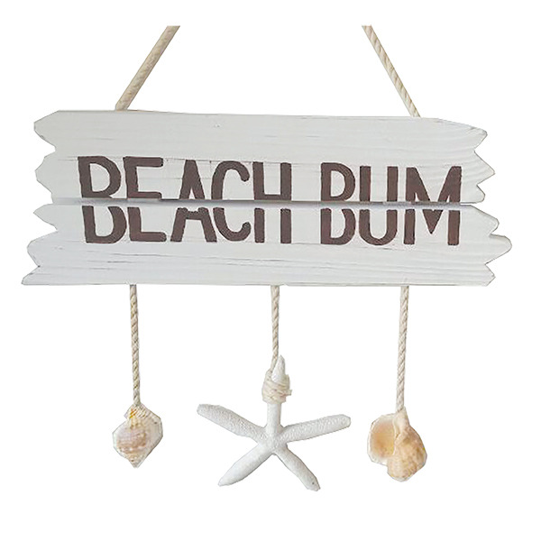 Beach Bum sign wooden with Hanging shells 37.5cm