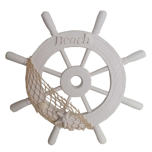 White wooden Ships wheel With Beach Sign 38cm