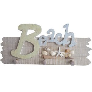 Beach Sign with starfish & Shells 40cm