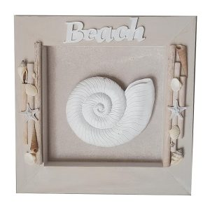Beach Sign Shadowbox Driftwood plaque Shell 32cm