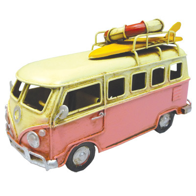 Kombi Metal Decor with LifeBuoy & Surf board - Pink 16cm