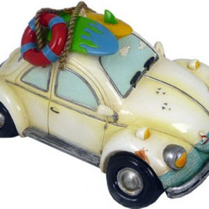 White Old Bug Money Box with Surf board 21cm