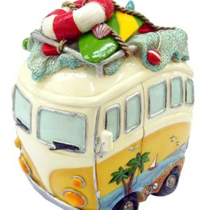 Hippie Van Money Box with Beach Gear - Yellow Tall