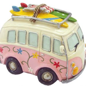 Hippie Van Money Box with Beach Gear - Pink