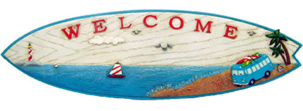 Surf Board Welcome Sign with old Hippie Van
