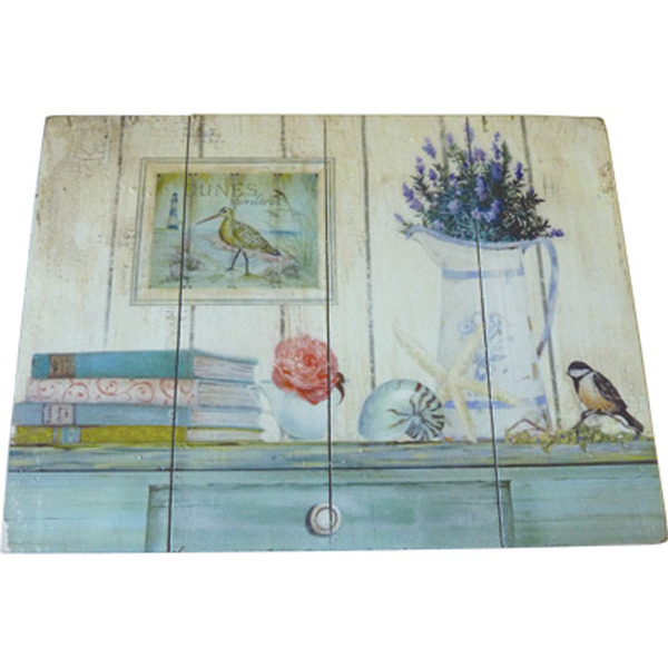 Wooden Plaque Blue Sideboard 25.4x35.5 cm