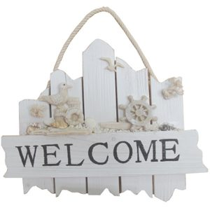 Waterfront Welcome Sign with ships wheel & seagull
