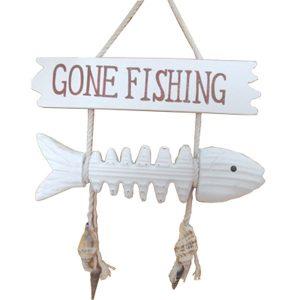 Fish Bone Gone Fishing Sign 26cm