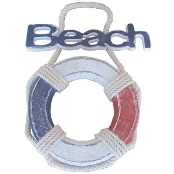 LifeBuoy Beach sign Red White & Blue 24cm