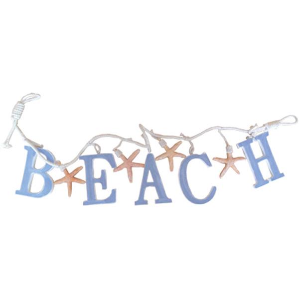Beach Letters & Starfish Garland Blue 91x7x1cm