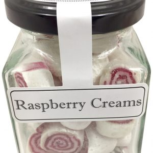 Raspberry Cream  Boiled Lollies or Rock Candy 100g Jars - Packed In Boxes of 12