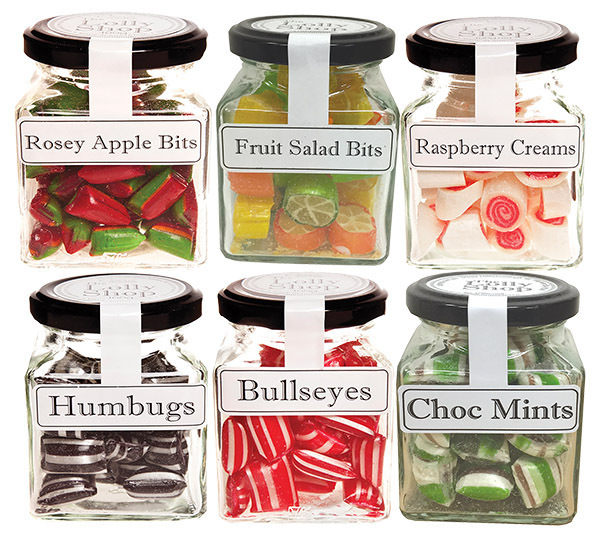 Boiled Lollies Rock Candy MIXED Pack 100g Jars - Packed In Boxes of 12