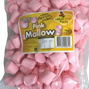 Pink Marshmallow Cylinders 1kg Bulk Lollies Bag for Lolly Buffet - Lolliland