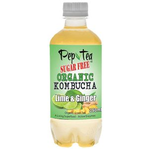 Organic Kombucha Tea - Lime & Ginger - SUGAR FREE Drinks - 12 Pack