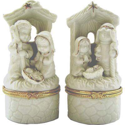 Nativity Trinket Box Ivory Porcelain