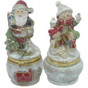 Santa & Snowman Hinged Box Porcelain (S2)