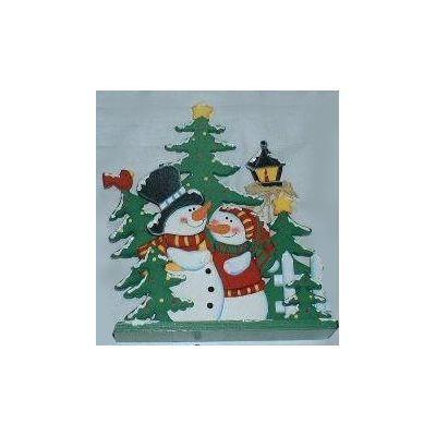 Happy Snowmen with Christmas trees.
